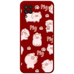 Funda Silicona Líquida Roja para Samsung Galaxy A22 LTE 4G diseño Cerdos Dibujos