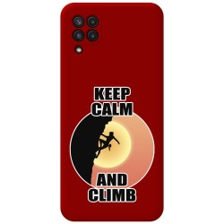 Funda Silicona Líquida Roja para Samsung Galaxy A22 LTE 4G diseño Mujer Escalada Dibujos