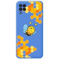 Funda Silicona Líquida Azul para Samsung Galaxy A22 LTE 4G diseño Abeja Dibujos