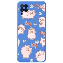 Funda Silicona Líquida Azul para Samsung Galaxy A22 LTE 4G diseño Cerdos Dibujos