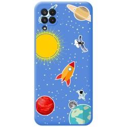 Funda Silicona Líquida Azul para Samsung Galaxy A22 LTE 4G diseño Espacio Dibujos