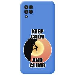 Funda Silicona Líquida Azul para Samsung Galaxy A22 LTE 4G diseño Hombre Escalada Dibujos