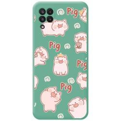 Funda Silicona Líquida Verde para Samsung Galaxy A22 LTE 4G diseño Cerdos Dibujos