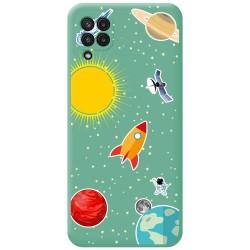 Funda Silicona Líquida Verde para Samsung Galaxy A22 LTE 4G diseño Espacio Dibujos