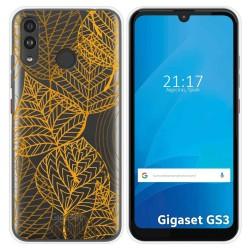 Funda Silicona Transparente para Gigaset GS3 diseño Hojas Dibujos