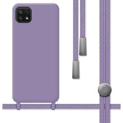 Funda Silicona Líquida con Cordón para Samsung Galaxy A22 5G color Morada