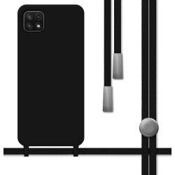 Funda Silicona Líquida con Cordón para Samsung Galaxy A22 5G color Negra