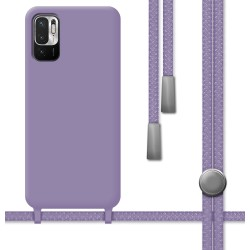 Funda Silicona Líquida con Cordón para Xiaomi Redmi Note 10 5G / POCO M3 PRO 5G color Morada