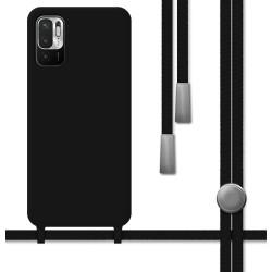 Funda Silicona Líquida con Cordón para Xiaomi Redmi Note 10 5G / POCO M3 PRO 5G color Negra