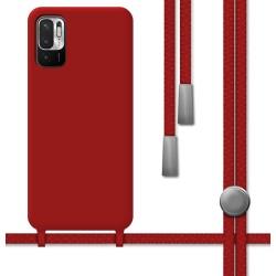 Funda Silicona Líquida con Cordón para Xiaomi Redmi Note 10 5G / POCO M3 PRO 5G color Roja
