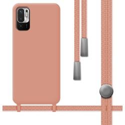 Funda Silicona Líquida con Cordón para Xiaomi Redmi Note 10 5G / POCO M3 PRO 5G color Rosa