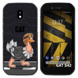 Funda Silicona Transparente para Cat S42 / S42 H+ diseño Avestruz Dibujos