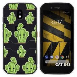 Funda Silicona Transparente para Cat S42 / S42 H+ diseño Cactus Dibujos