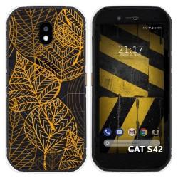 Funda Silicona Transparente para Cat S42 / S42 H+ diseño Hojas Dibujos