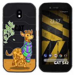 Funda Silicona Transparente para Cat S42 / S42 H+ diseño Jirafa Dibujos