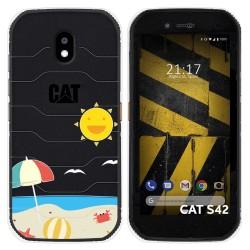 Funda Silicona Transparente para Cat S42 / S42 H+ diseño Playa Dibujos