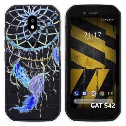 Funda Silicona Transparente para Cat S42 / S42 H+ diseño Plumas Dibujos