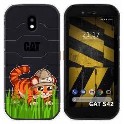 Funda Silicona Transparente para Cat S42 / S42 H+ diseño Tigre Dibujos