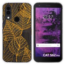Funda Silicona Transparente para Cat S62 Pro diseño Hojas Dibujos