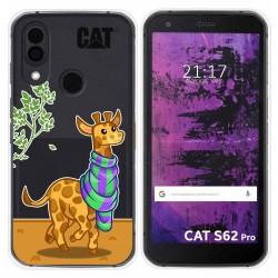 Funda Silicona Transparente para Cat S62 Pro diseño Jirafa Dibujos
