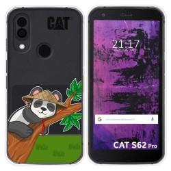Funda Silicona Transparente para Cat S62 Pro diseño Panda Dibujos