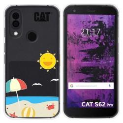 Funda Silicona Transparente para Cat S62 Pro diseño Playa Dibujos