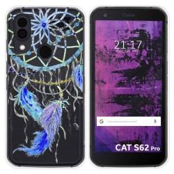 Funda Silicona Transparente para Cat S62 Pro diseño Plumas Dibujos
