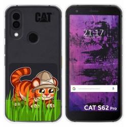Funda Silicona Transparente para Cat S62 Pro diseño Tigre Dibujos