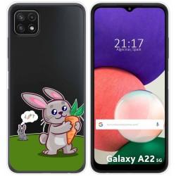 Funda Silicona Transparente para Samsung Galaxy A22 5G diseño Conejo Dibujos