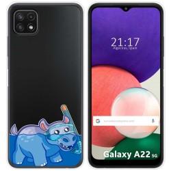 Funda Silicona Transparente para Samsung Galaxy A22 5G diseño Hipo Dibujos