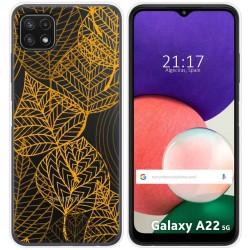 Funda Silicona Transparente para Samsung Galaxy A22 5G diseño Hojas Dibujos