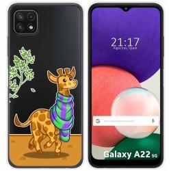 Funda Silicona Transparente para Samsung Galaxy A22 5G diseño Jirafa Dibujos