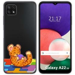 Funda Silicona Transparente para Samsung Galaxy A22 5G diseño Leopardo Dibujos