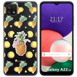 Funda Silicona Transparente para Samsung Galaxy A22 5G diseño Piña Dibujos