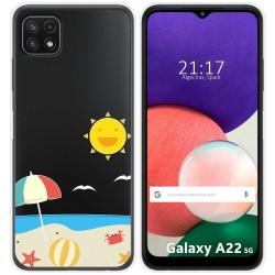 Funda Silicona Transparente para Samsung Galaxy A22 5G diseño Playa Dibujos