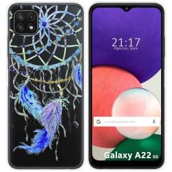 Funda Silicona Transparente para Samsung Galaxy A22 5G diseño Plumas Dibujos