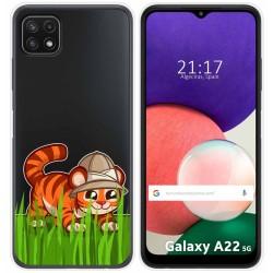 Funda Silicona Transparente para Samsung Galaxy A22 5G diseño Tigre Dibujos
