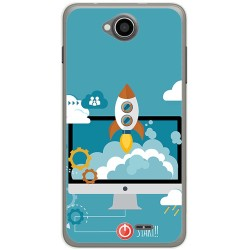 Funda Gel Tpu para Hisense U962 Diseño Cohete Dibujos