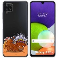 Funda Silicona Transparente para Samsung Galaxy A22 LTE 4G diseño Bufalo Dibujos