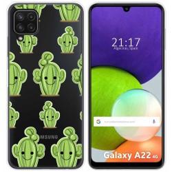 Funda Silicona Transparente para Samsung Galaxy A22 LTE 4G diseño Cactus Dibujos
