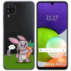 Funda Silicona Transparente para Samsung Galaxy A22 LTE 4G diseño Conejo Dibujos