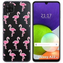 Funda Silicona Transparente para Samsung Galaxy A22 LTE 4G diseño Flamenco Dibujos