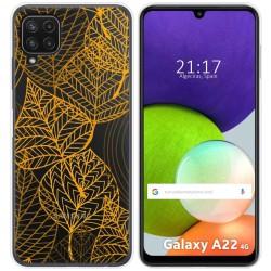 Funda Silicona Transparente para Samsung Galaxy A22 LTE 4G diseño Hojas Dibujos