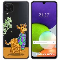 Funda Silicona Transparente para Samsung Galaxy A22 LTE 4G diseño Jirafa Dibujos