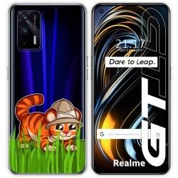 Funda Silicona Transparente para Realme GT 5G diseño Tigre Dibujos