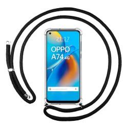 Funda Colgante Transparente para Oppo A74 4G con Cordon Negro