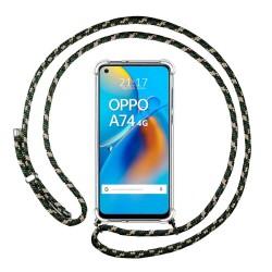 Funda Colgante Transparente para Oppo A74 4G con Cordon Verde / Dorado