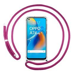 Funda Colgante Transparente para Oppo A74 4G con Cordon Rosa Fucsia
