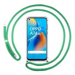 Funda Colgante Transparente para Oppo A74 4G con Cordon Verde Agua