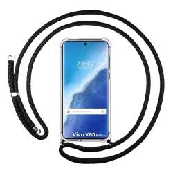 Funda Colgante Transparente para Vivo X60 Pro 5G con Cordon Negro